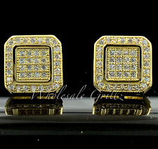NEW! $99 14k Gold Gp HIPHOP Earrings Out-Line Simulate Diamond Lab Iced Bling nr