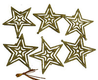 Pack of 6 Glitter Stars Hanging Christmas Tree Decoration RED SILVER GOLD