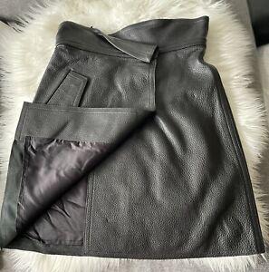 VICTORIA BECKHAM - Tumbled Leather Skirt SIZE 8