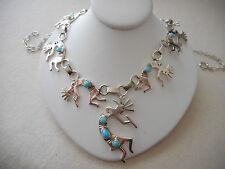 Vintage Southwest Sterling Silver Turquoise Linked Kokopelli Necklace   421118