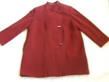 Smart Jaques Vert Rusty Maroon Rust Red Wool High Neck Long Winter Warm Coat 16