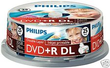 Philips DVD + R DL 8.5 gb imprimible, 8x Speed, SPINDLE 25 unid.