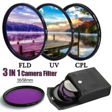 55mm 58mm Filter Kit 3Pcs UV FLD CPL Filters For Canon Nikon Sony DSLR Cameras