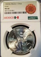 1985 MEXICO SILVER LIBERTAD 1 ONZA NGC MS 66 TOP QUALITY AZTEC CALENDER LABEL !!