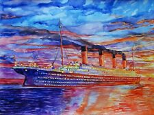 "11.69 × 15.75"" ~RMS Titanic at Sunset~ watercolor SIGNED and DATED"