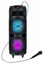 Mobiler DJ PA Party Bluetooth Lautsprecher LED Akku Box Karaoke Mikrofon 60W