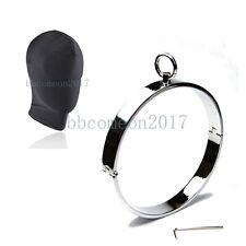 Stainless Steel Locking Slave Collar Restraint Heavy Choker Blindfold Hood Mask