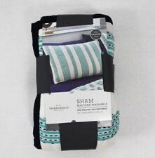 Threshold Cotton Woven Stripe Standard Pillow Sham Teal & White with Navy Trim