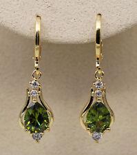 18K Yellow Gold Filled- 1.2'' Hollow Teardrop Peridot Topaz Gems Women Earrings