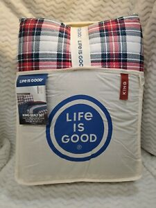 Berkshire Life Is Good KING Size Quilt Set Color: Red and Navy Multi Plaid