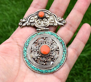 Turquoise Coral Tibetan Silver Pendant Nepal Ethnic Tribal Bohemian Boho Locket