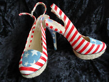 Ladies USA Stars and Stripes High Heeled platform shoes, size 6. Dolcis