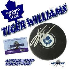TIGER WILLIAMS Signed TORONTO MAPLE LEAFS Puck w/COA