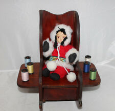 Vintage Rocking Chair Sewing Caddy Inuit Native Outfit Pin Cushion