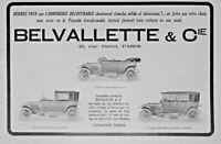 PUBLICITÉ DE PRESSE 1914 VOITURES BELVALLETTE TORPEDO EN LANDAULET OUVERT