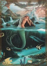 Modern-Wide-Linen-Beach Theme-P27-Mermaid Leaning On Rock-Swap Playing Card
