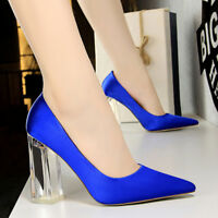 Women Classic Closed Pointed Toe Pumps High Chunky Block Heel Dress Office Shoes