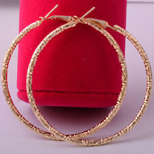 """Nice New Large 2.25"""" 14K Yellow Gold Plated Carved Design Circle Hoop Earrings"""