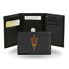 Arizona State ASU Embroidered Black Leather Trifold Wallet