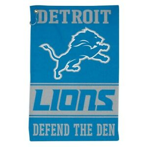 """DETROIT LIONS ALL PURPOSE GOLF TAILGATE TOWEL 16""""X25"""" HOOK AND GROMMET"""