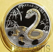 2013 Togo 蛇 Lunar Year of the Snake 1 Oz Silver Proof Coin Chinese Zodiac Gilded