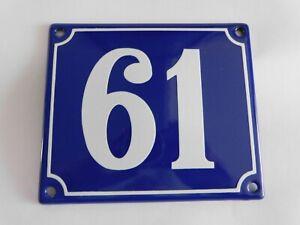 Old French Blue Enamel Porcelain Metal House Door Number Street Sign / Plate 61
