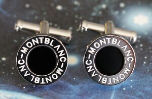 BRAND NEW MONTBLANC ROUND CUFFLINKS IN STAINLESS STEEL WITH NATURAL BLACK ONYX