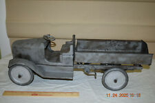 """Vintage 1920s Buddy L Pressed Steel Dump Truck With Chain Drive Dump Bed 25"""" L"""