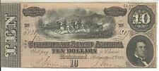 CSA 1864 Confederate Currency T68 $10 Note Horses pull Cannon Caisson #61307