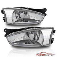 [with Bulbs] Chrome Headlights Headlamps for 97-02 Mitsubishi Mirage 2Dr Coupe