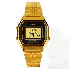 Casio LA-680WGA-1D Ladies Watch Gold Tone Digital Retro Multi-Function LA680 New
