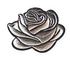 Gray Rose Embroidery Sew, Iron On Patch for Clothes, Jeans Fabric Applique DIY