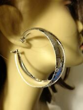 THICK SILVER TONE HOOPS FROSTED SHINY DESIGN 2.25 inch HOOP EARRINGS WIDE HOOPS