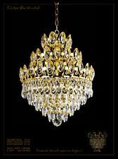Majestueux lustre 3 niveaux AUTHENTIQUE CRISTAL Solider métal ENCADREMENT OR /