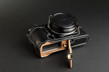 Genuine real Leather Half Camera Case bag for Olympus STYLUS 1 Bottom Open Black