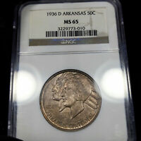 1936-D MS65 Arkansas Commemorative Half 50c, NGC Graded, Earthy Tone