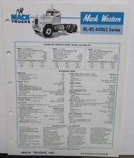 1977 Mack Western Trucks Model RL RS 600LS Series Sales Brochure Original