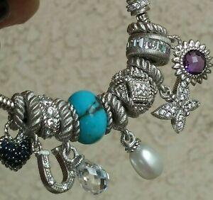 "Judith Ripka Snake Charm Bracelet With 10 Gemstone/CZ Charms Sterling 7"" Wrist"