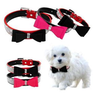 Cute Bowtie Pet Dog Collar Bling Rhinestone Soft Suede Necklace Small Medium Dog