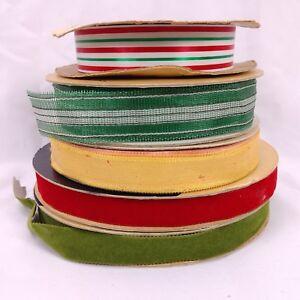 Vintage Ribbon Lot Christmas Colors Burlap Acetate Velvet Mid Century 184 yds