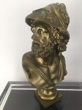 "Ajax The Great Gilt Bronze Bust Statue Antique 19th C. BLANPAIN Mark H 10"""