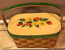 1960-70s Vintage Wooden Woven Basket Purse Strawberry & Daisy Design Ketville