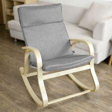 SoBuy® Fauteuil à bascule berçant Rocking Chair en Bouleau -Gris , FST15-DG, FR