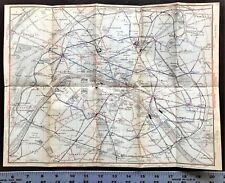 1907 ORIGINAL COLOR LARGE MAP - PARIS RAILWAYS, FRANCE - BAEDEKER Rare