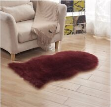 Soft Sheepskin Rug Chair Cover Warm Hairy Carpet Seat Plain Skin Fur Dark Red