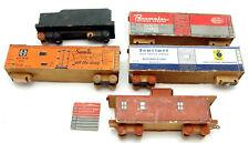 Lot Of 5 Vintage Wooden Cardboard Railroad Train Car Model Kits Assembled