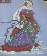 Design Works,VICTORIAN LADY WINTER WALK,Counted Cross Stitch kit,BEADED,Sealed