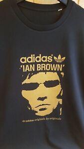 "Adidas Originals Endorsed by Ian Brown T-Shirt Medium 39"" Screen Printed Gold"