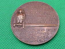 More details for burgen 1925 , bronze medallion , german , owl  perched on sword (4477)