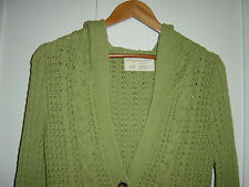 WOMEN'S AEROPOSTALE CABLE KNIT HOODED LIME GREEN 3/4 SLEEVE SWEATER SIZE XL